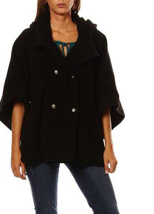 Пальто пончьо бренд new look черное качественный кашемир