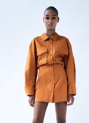 Платье рубашка zara с открытой спинкой