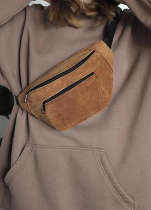 Бананка сумка эко замшевая переработанная персиковая рыжая слинг унисекс