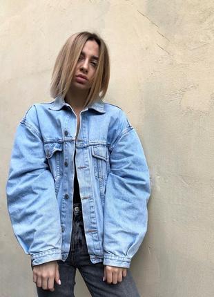 Джинсовая куртка пиджак оверсайз
