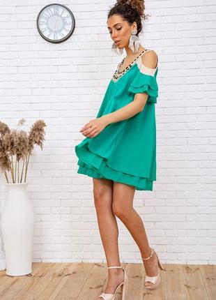 Туника летняя весенняя зеленая легкая красивая модная с открытыми плечами свободная шифоновая платье