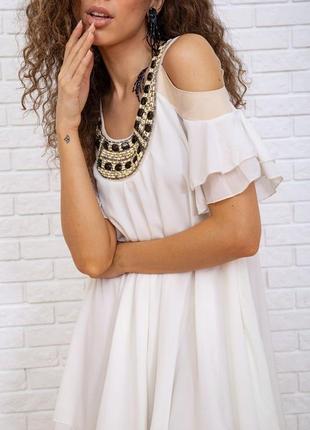 Туника летняя весенняя молочная белая красивая модная с открытыми плечами свободная шифоновая платье