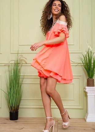 Туника летняя весенняя розовая красивая модная с открытыми плечами свободная шифоновая платье3 фото