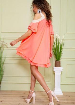 Туника летняя весенняя розовая красивая модная с открытыми плечами свободная шифоновая платье4 фото