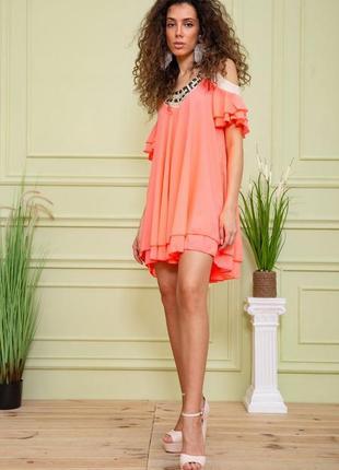 Туника летняя весенняя розовая красивая модная с открытыми плечами свободная шифоновая платье
