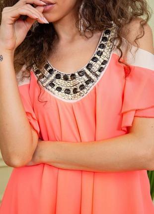 Туника летняя весенняя розовая красивая модная с открытыми плечами свободная шифоновая платье5 фото