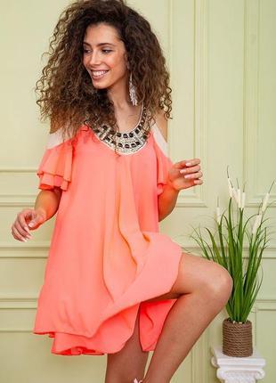 Туника летняя весенняя розовая красивая модная с открытыми плечами свободная шифоновая платье2 фото