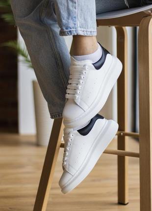 Кросівки white black leather кроссовки
