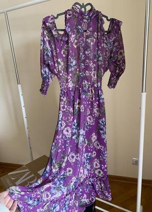 Легкое трендовое платье zara длинное миди с рюшами