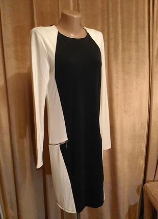 Чёрно-белое стильное платье khujo размер s, m,э