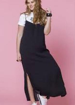 Сарафан платье льняной чёрный