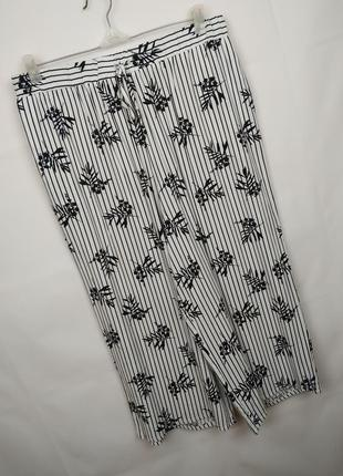 Брюки штаны капри легкие натуральные в принт красивые uk 14/42/l