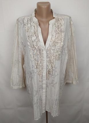 Блуза легкая шикарная с жабо рюши большого размера uk 24/52/5xl