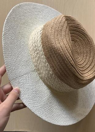 Соломенная шляпка 3 цвета, белый светло бежевый и темно бежевый 🌟🌟🌟