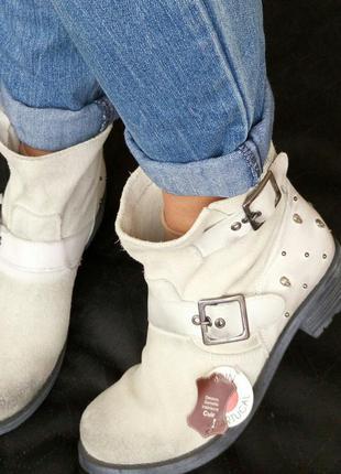 Замша,кожа!новые kookai франция ботинки,сапоги серые черепа 39р/25см