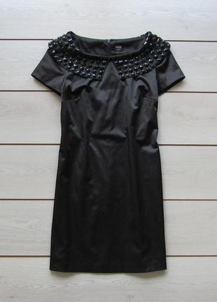 Новое короткое нарядное вечернее черное атласное платье в камнях от oasis