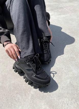 Женские текстильные кроссовки черного цвета prada cloudbust black