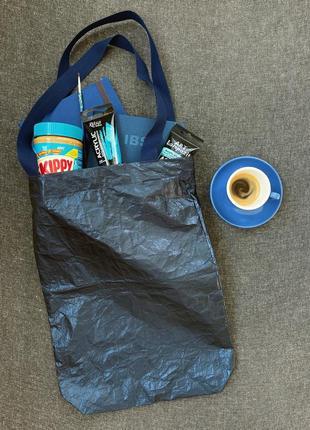 @don.bacon сумка шоппер синяя с эффектом мятой блестящей бумаги большая