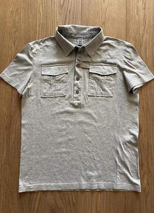Bikkembergs серая мужская поло рубашка с коротким рукавом и карманами
