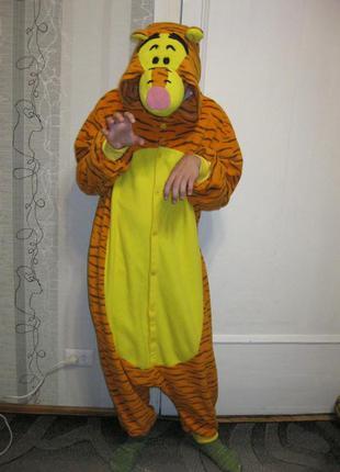 Тигра флисовая пижама кигуруми костюм комбинезон с-м, рост до 169 см