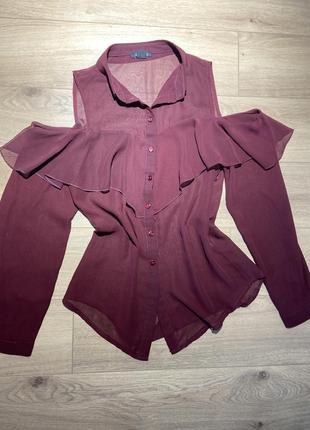 Прозрачная красивая бардовая блуза