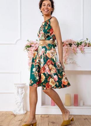 Летнее весеннее платье с цветочным принтом в цветочек длинное с поясом зеленое золотое атласные модное красивое