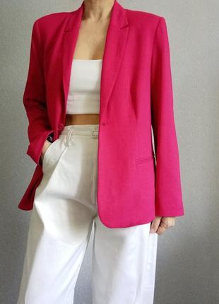 Жакет пиджак прямой малиновый