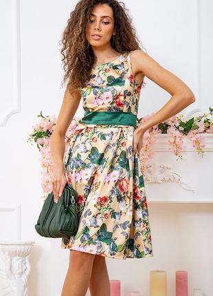 Летнее весеннее платье с цветочным принтом в цветочек длинное с поясом золотистое зеленое красивое модное атласное