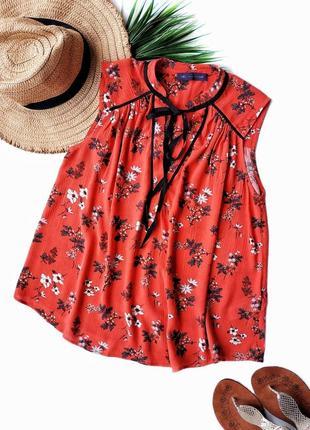 Блуза в цветочный принт из натуральной ткани на невысокий рост marks&spencer.