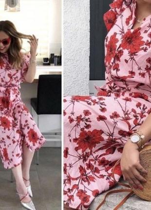 Zara pink платье в цветочный принт  лен