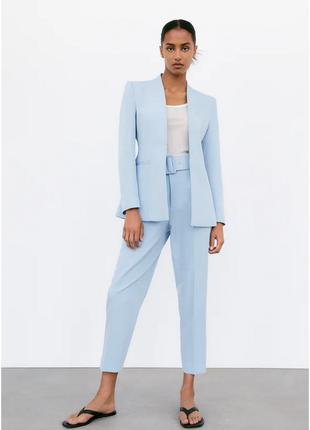 Брючный костюм zara комплект пиджак и брюки zara брюки с высокой посадкой и блейзер длинный рукав