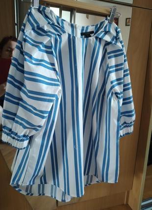Шикарная блуза свободного кроя с объёмным рукавом