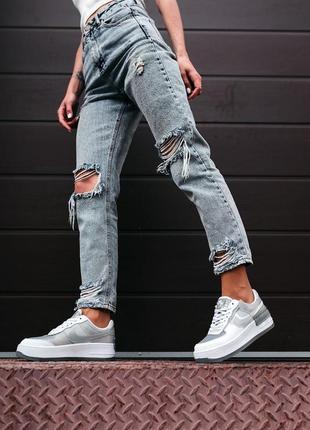 Nike air force shadow white grey женские серые кроссовки найк/ жіночі сірі кросівки найк10 фото