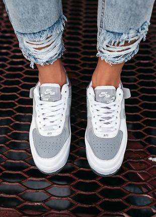 Nike air force shadow white grey женские серые кроссовки найк/ жіночі сірі кросівки найк4 фото