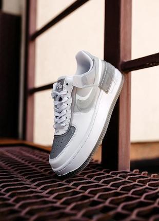 Nike air force shadow white grey женские серые кроссовки найк/ жіночі сірі кросівки найк5 фото