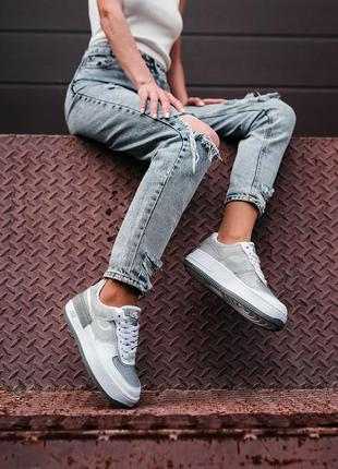 Nike air force shadow white grey женские серые кроссовки найк/ жіночі сірі кросівки найк2 фото