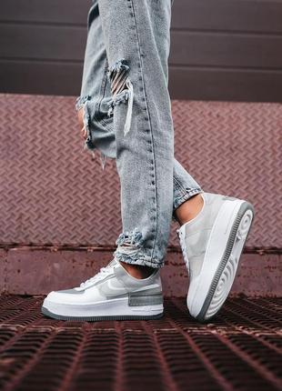 Nike air force shadow white grey женские серые кроссовки найк/ жіночі сірі кросівки найк