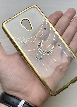 Силиконовый прозрачный золотистый чехол на для мейзу м5с meizu m5s