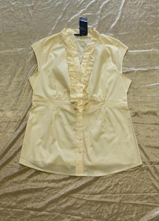 Тонкая хлопковая блузка немного тянется  f&f размер 16{44} l-xl