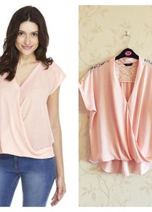 Нежная пудровая блузка f&f с кружевной спинкой, размер 46-48