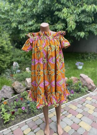 Шикарное летнее сарафан платье свободного кроя с ярким принтом свободного фасона