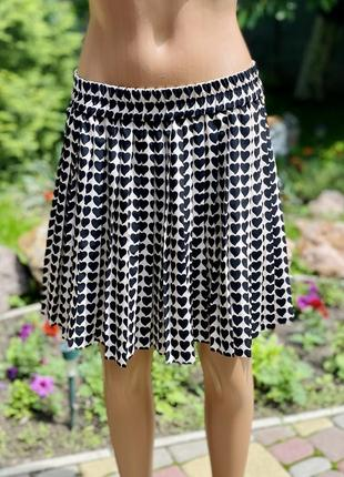 Фирменная юбка zara легкая плисе сердечки