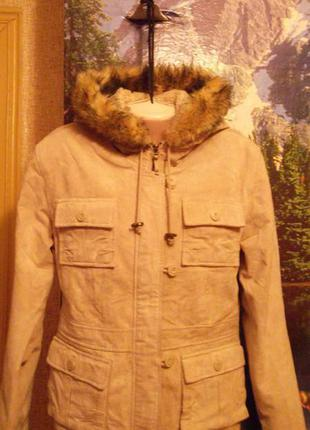 Фирменная утеплённая куртка с капюшоном mustang из натурального замша!