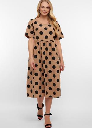 Платье в горох для полных женщин (4 расцветки)