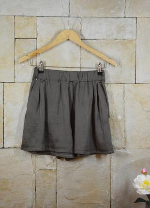 Акция 1+1=3! атласные шорты-юбка высокая талия с карманами h&m