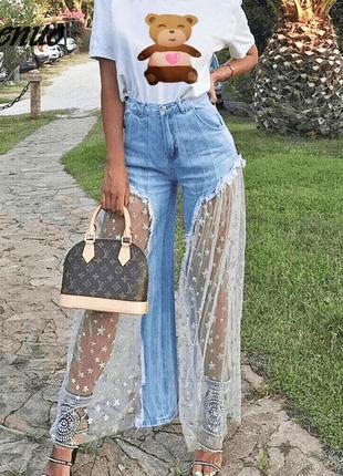 Джинсовые шорты штаны клеш кюлоты светлые с сеткой в звездах джинсы с вставками