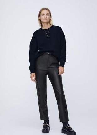 Штани/брюки з еко шкіри mom fit zara розмір 36