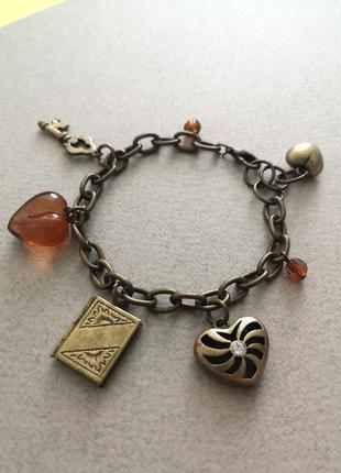 Классный браслет цепочка  с подвесками шармами сердце книга ключ