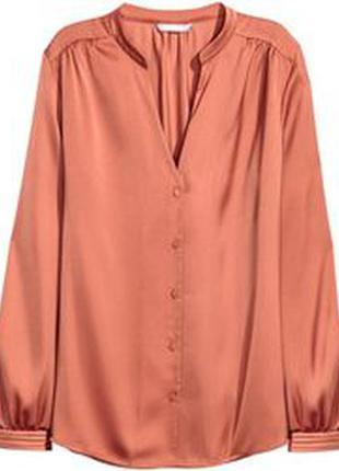 Шикарная атласная блуза/блузка/рубашка на пуговицах h&m