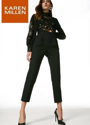 Укороченные эластичные брюки капри с высокой посадкой karen millen р. 38